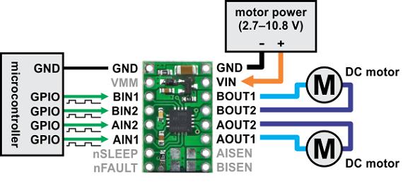 dvr8833 çift motor sürücü kartı - pl-2130 motor bağlantıları